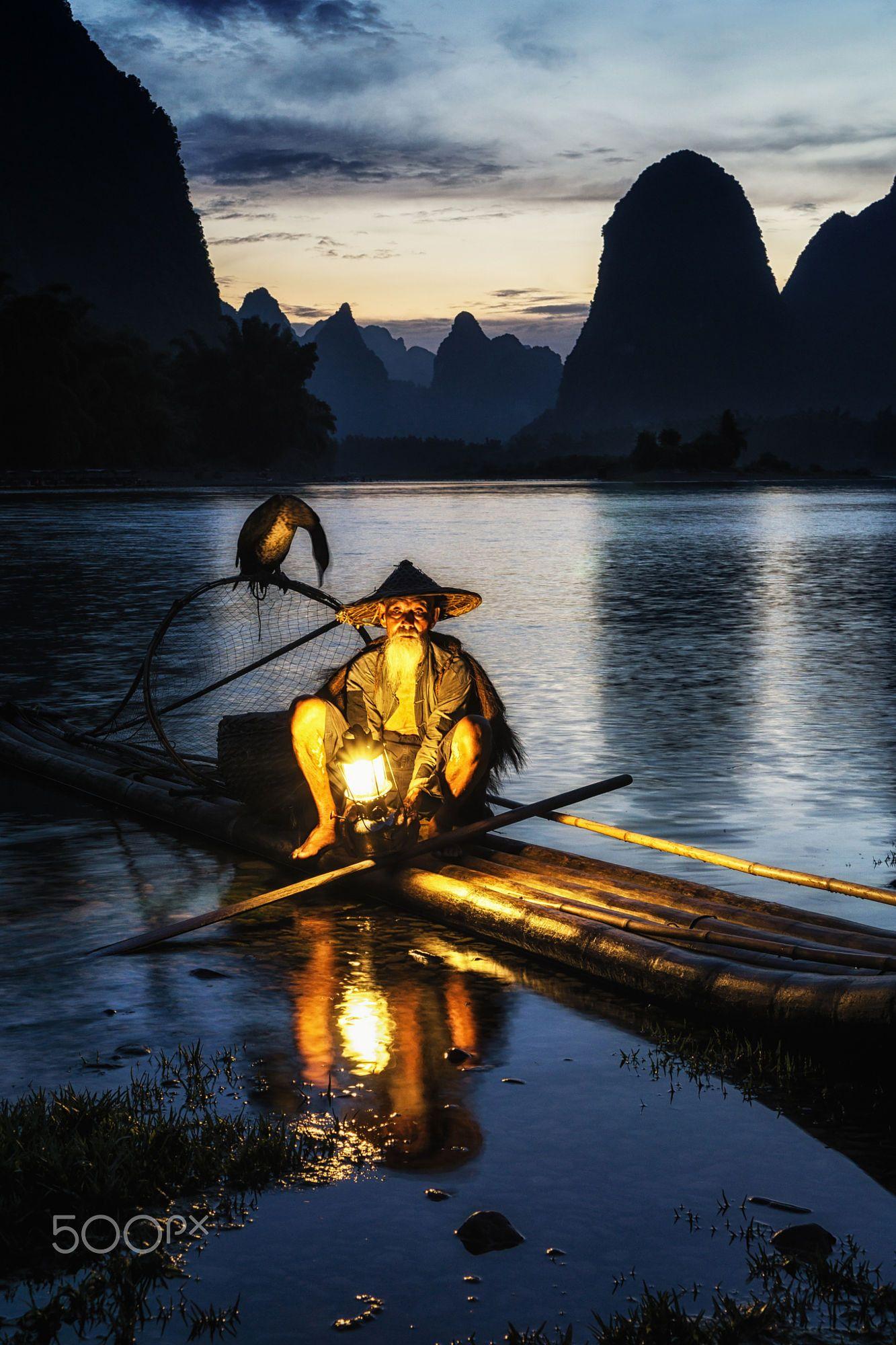 Famous cormorant fisherman by the Li River. Taken in Xingping China.