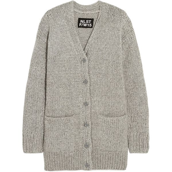 NLST Fisherman oversized chunky-knit cardigan (785 CAD) ❤ liked on Polyvore featuring tops, cardigans, outerwear, grey, chunky knit cardigan, drop shoulder tops, oversized tops, chunky oversized cardigan and oversized grey cardigan