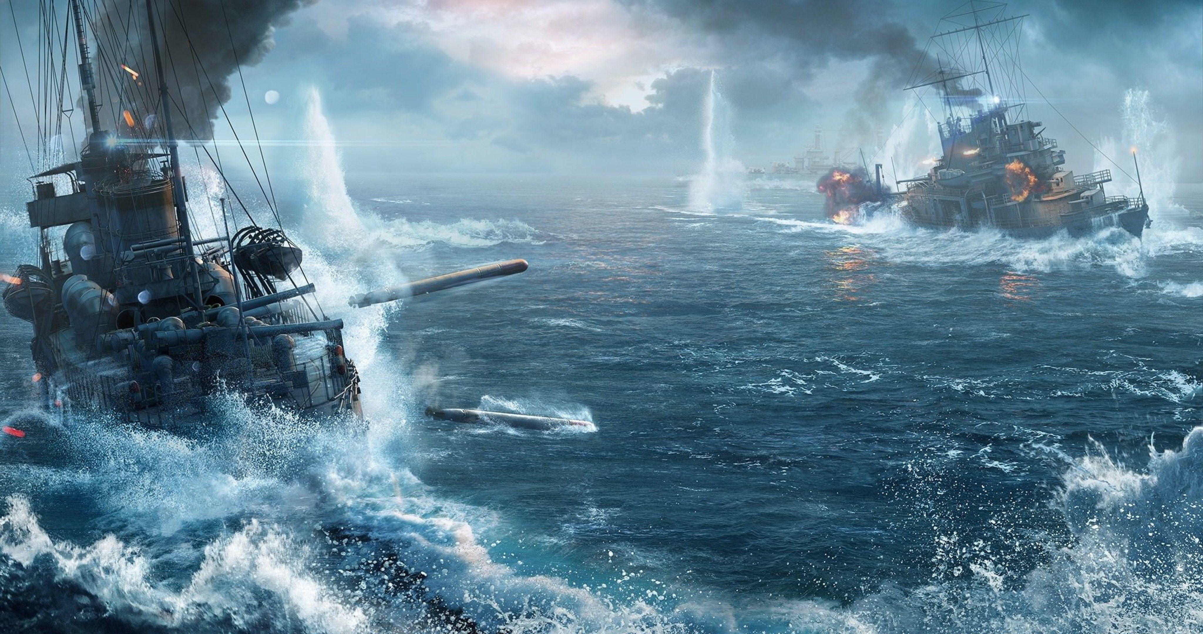 World Of Warships Battle 4k Ultra Hd Wallpaper World Of Warships Wallpaper Warship Battle Warship