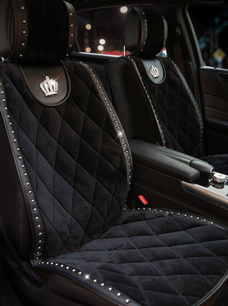 44 77 Crown Plush Car Seat Covers Punk Rivet Universal Auto Cushion 1pc Front Cover Black Car Accesories Car Seats Bling Car Accessories