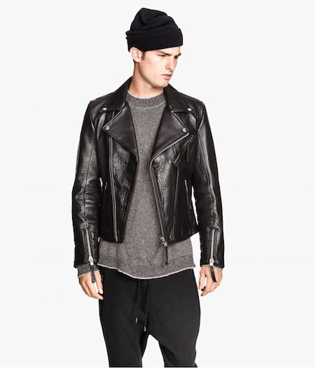 Men's leather biker jacket image from http://www.hm.com ...