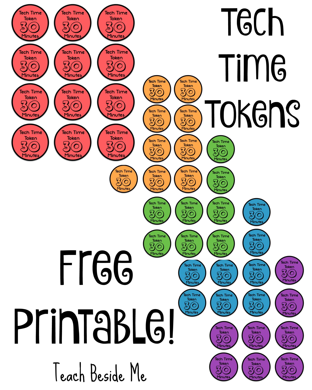 Free Printable Tech Time Tokens