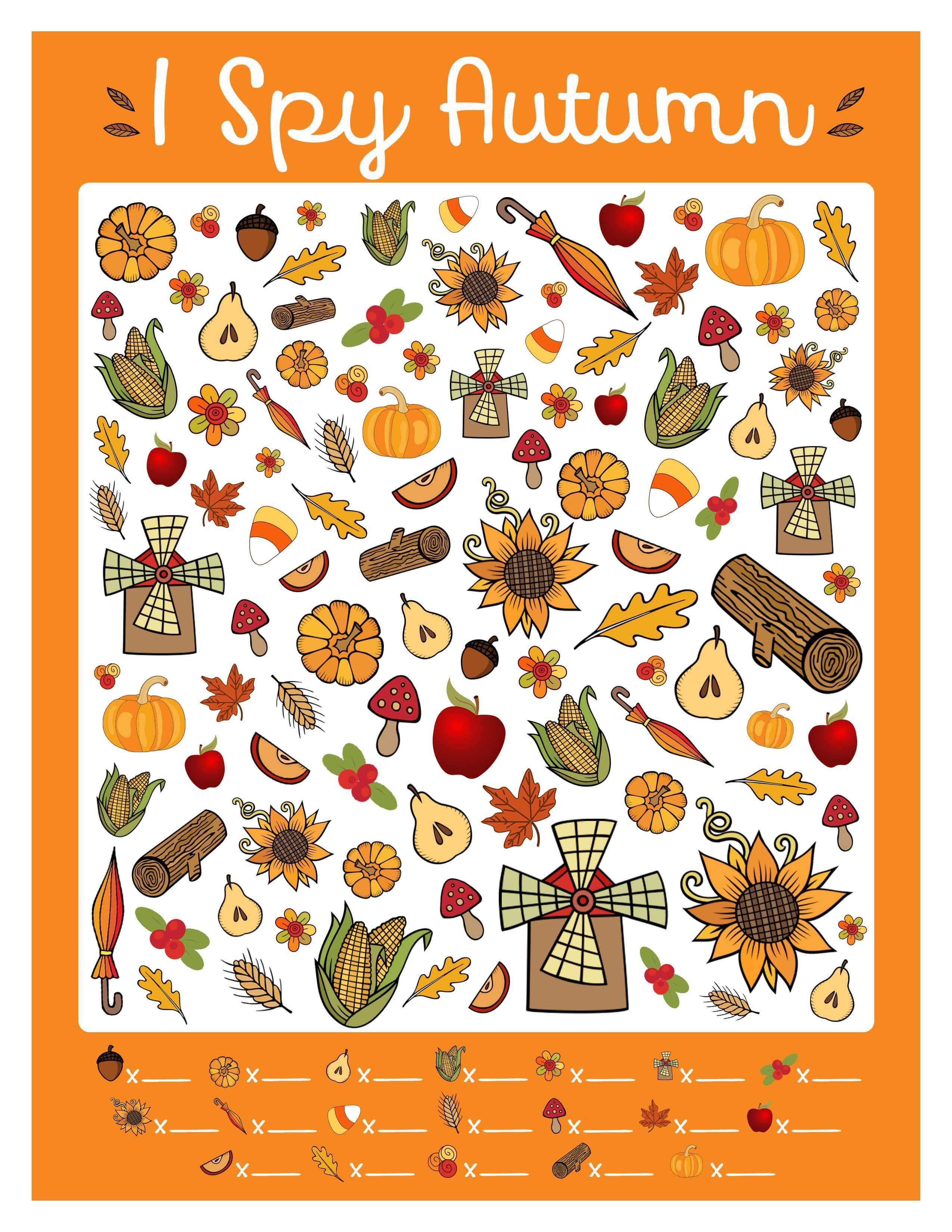 Free I Spy Autumn Printable Game