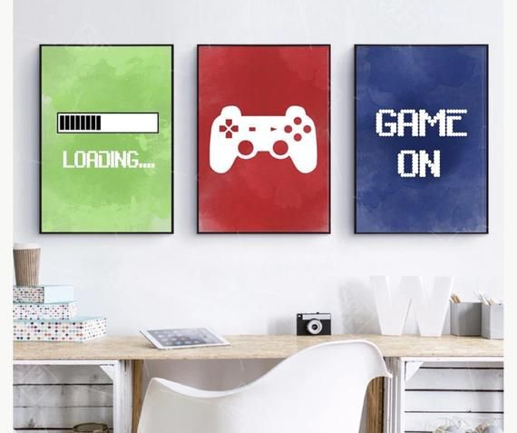 Set Of 3 Playstation Videogame Prints On Canvas Wall Art Deco Watercolour Effect Size 20x25 Cm In 2021 Video Game Wall Art Gaming Wall Art Game Room Decor