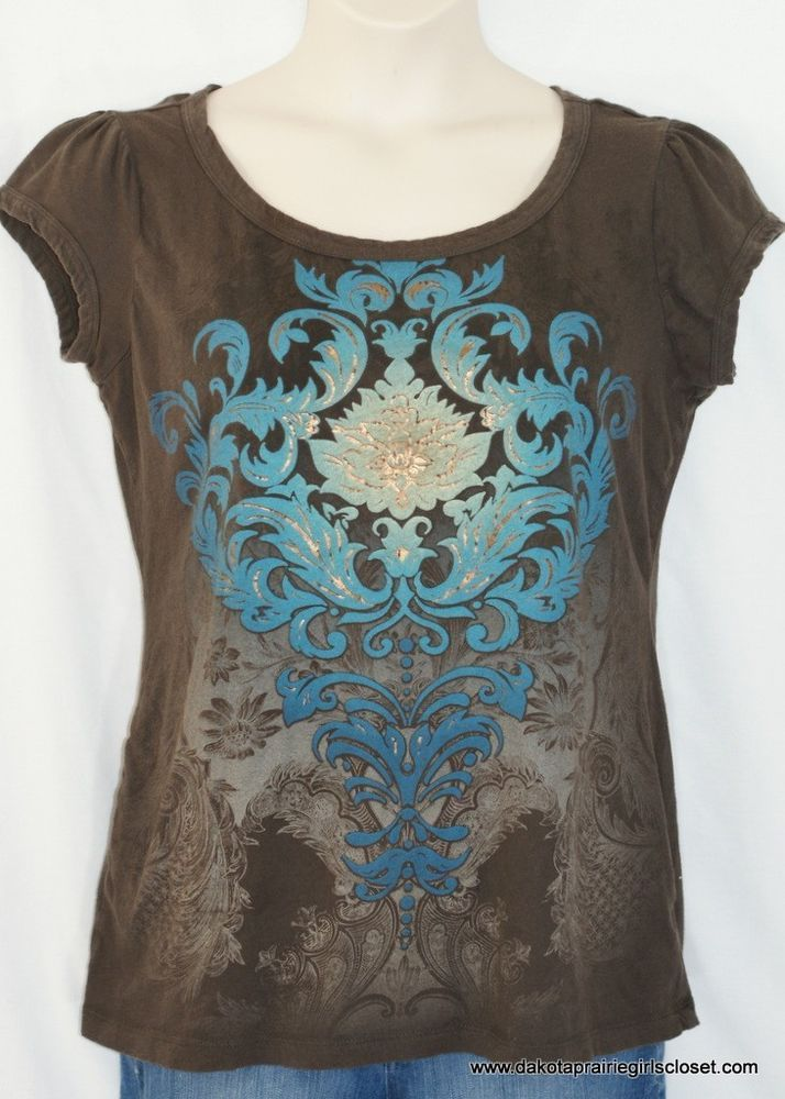 Women's Top XL Maurices Short Sleeve Brown Aqua Floral Screen Print