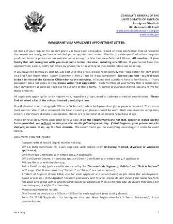 appointment letter immigrant visa applicants sample letters Home