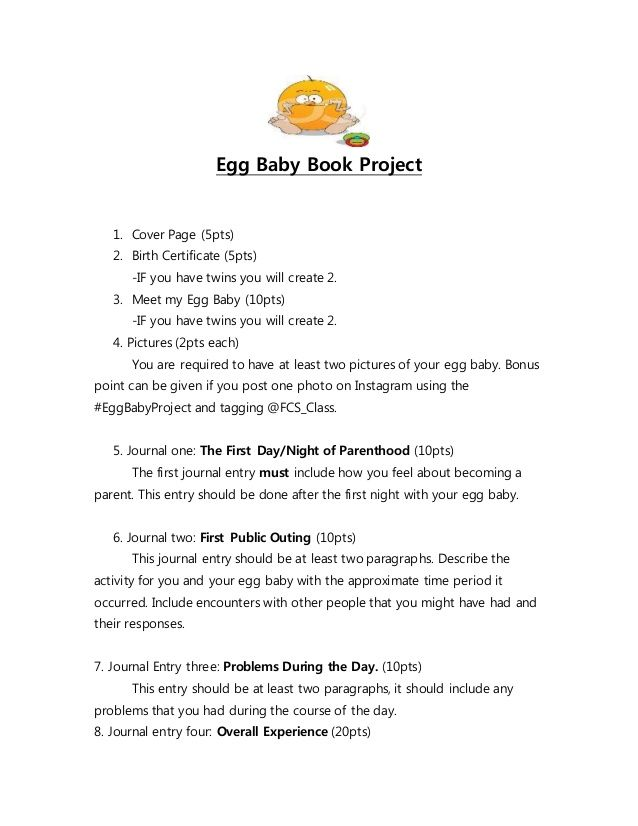 Egg Baby Book Project 1 Cover Page (5pts) 2 Birth Certificate - birth certificate template for school project