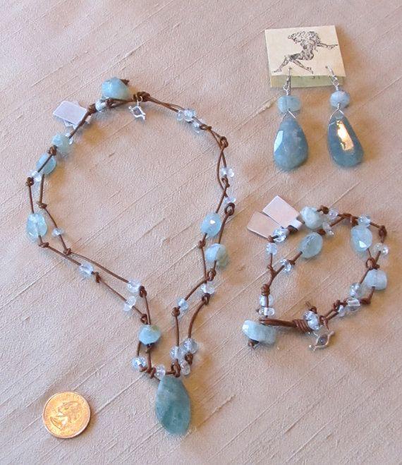 Blue Aquamarine ~ Organic Glamour ~ Knotted Leather Gemstone Bead Boho Necklace, Bracelet and Earrings Jewelry Set ~ Free US Shipping