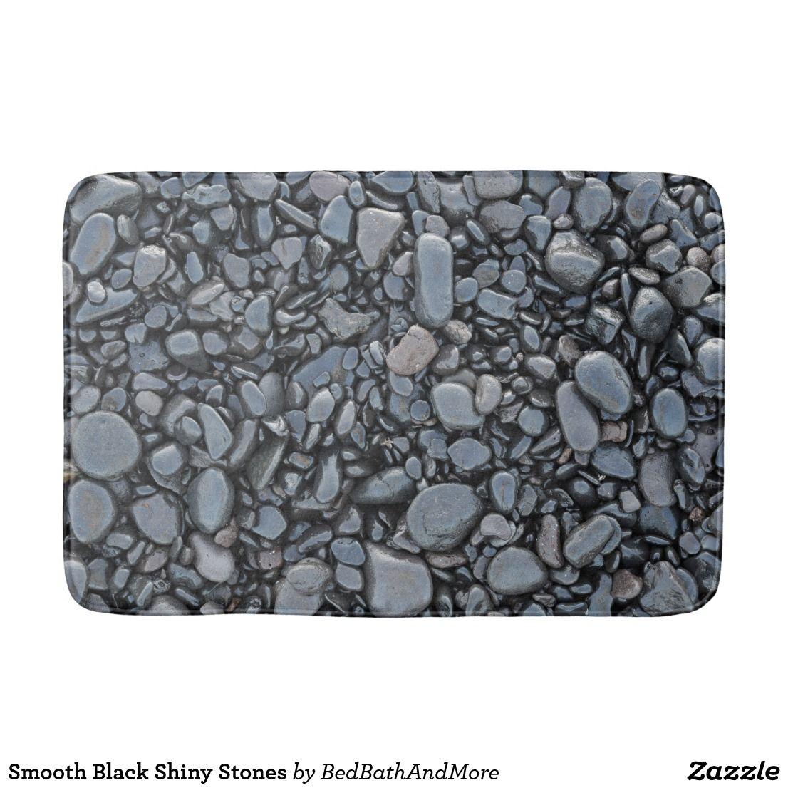 Smooth Black Shiny Stones Bathroom Mat