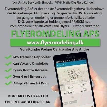 Flyers Distribution med GPS tracking = Flere Kunder Til Dig kontakt os på info@flyeromdeling.dk www.flyeromdeling.dk