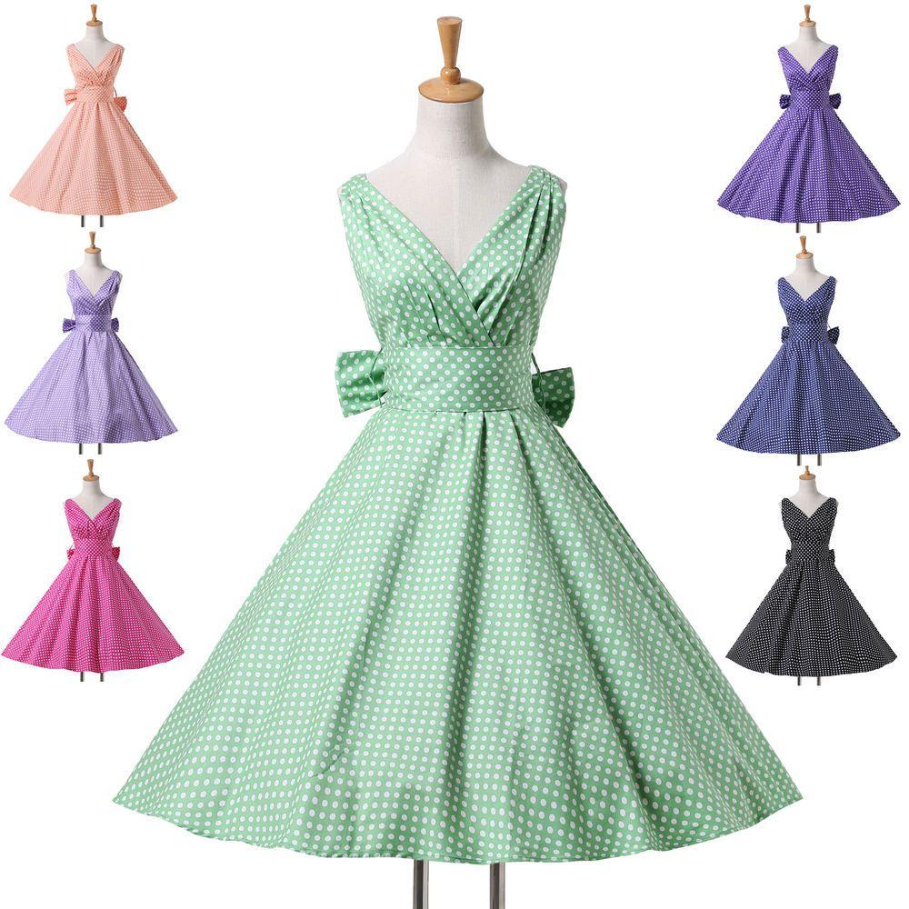 Vintage Année 50 tout 2014 femme pois pin up rockabilly robe années 50 robe de cocktail