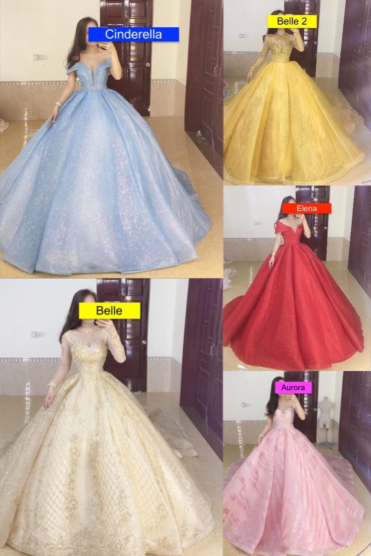 Disney Princess Collection Cinderella Belle Aurora Elena Inspired Ball Gown Wedding Prom Dress With Glitter Tulle In 2020 Dresses Ball Gowns Ball Gowns Wedding