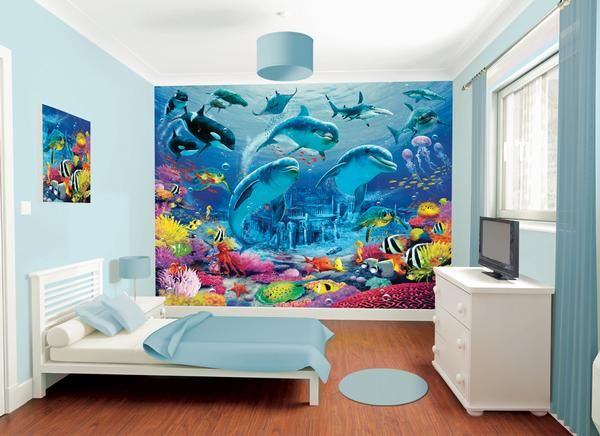Sea Life Wall Mural For Kids Ocean Themed Bedroom Girl Bedroom Walls Childrens Bedroom Wallpaper