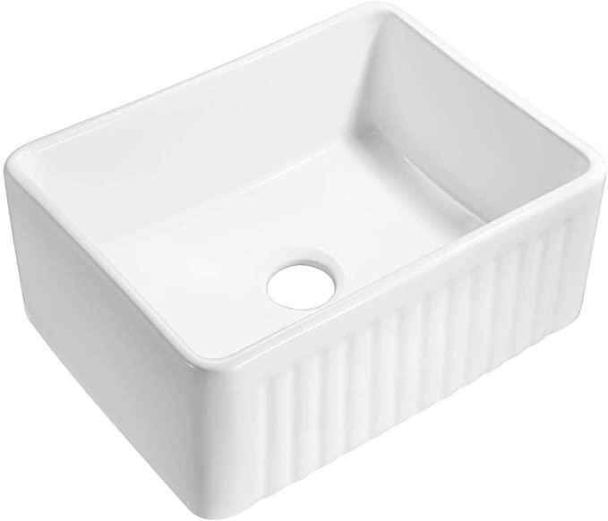 Klxhome 24 Inch Farmhouse Kitchen Sink White Porcelain Ceramic Apron Front Farmhouse Undermount Single Bowl In 2020 Farmhouse Sink Kitchen Sink Porcelain Kitchen Sink