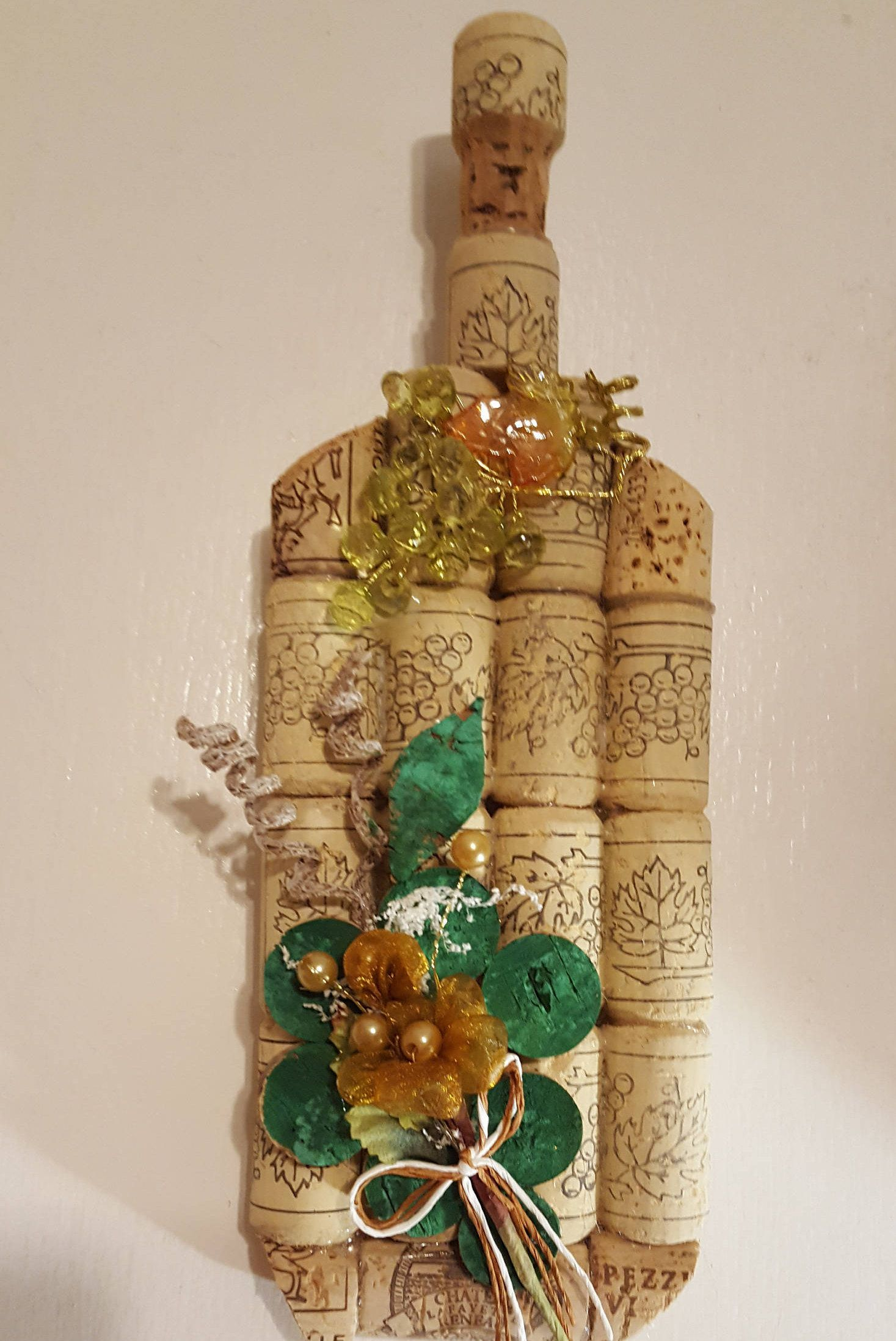 Cork wine bottle rustic cork wine bottle country kitchen wall