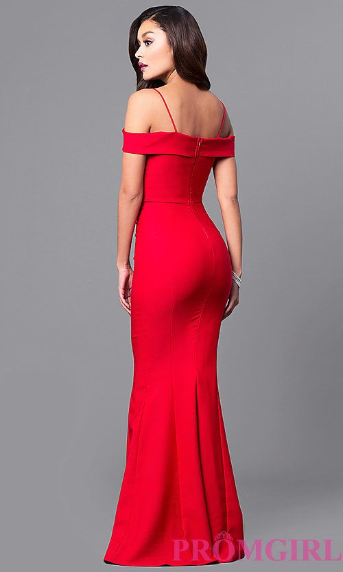 Image of long sweetheart neckline off-the-shoulder prom dress. Style ...