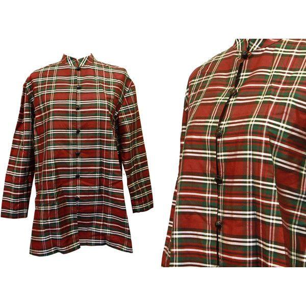 UNUSED Plaid Silk Blouse, 100% Silk Shirt Tunic, Green Red, Button... ($48) via Polyvore featuring tops, short-sleeve button-down shirts, red plaid shirt, green button up shirt, long sleeve tops and mandarin collar shirt