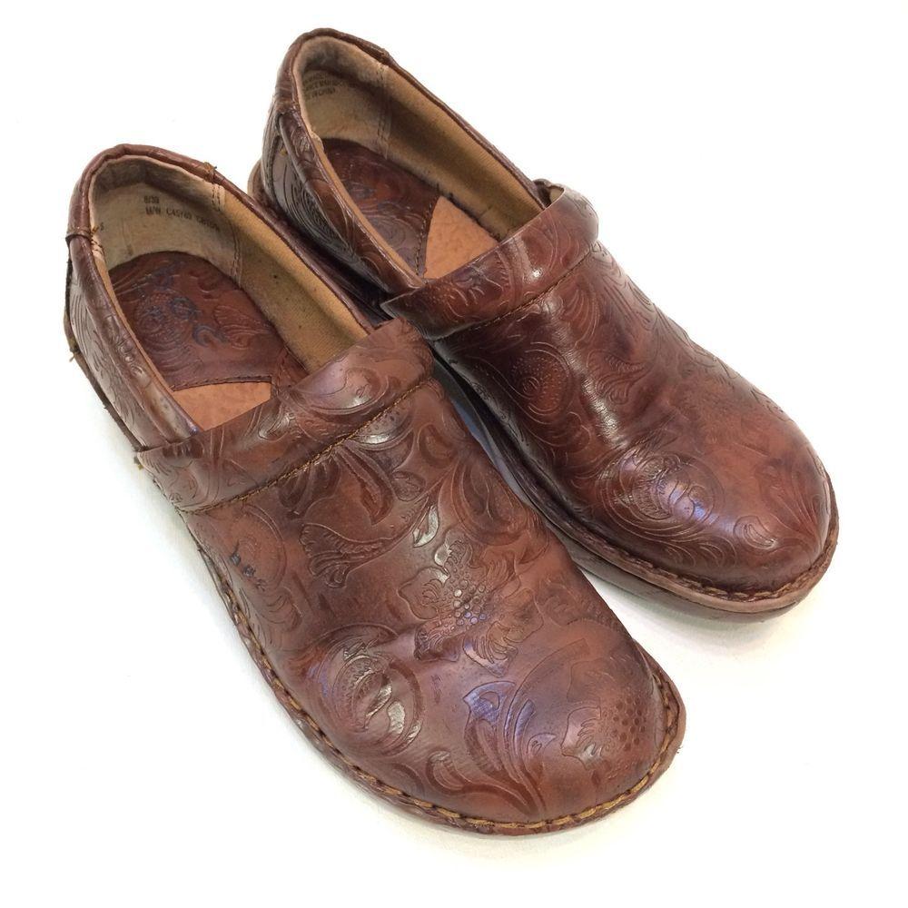 Women's Born Brown Leather Shoe Wedge Clog Heels Closed Toe Sz 6.5M Nice