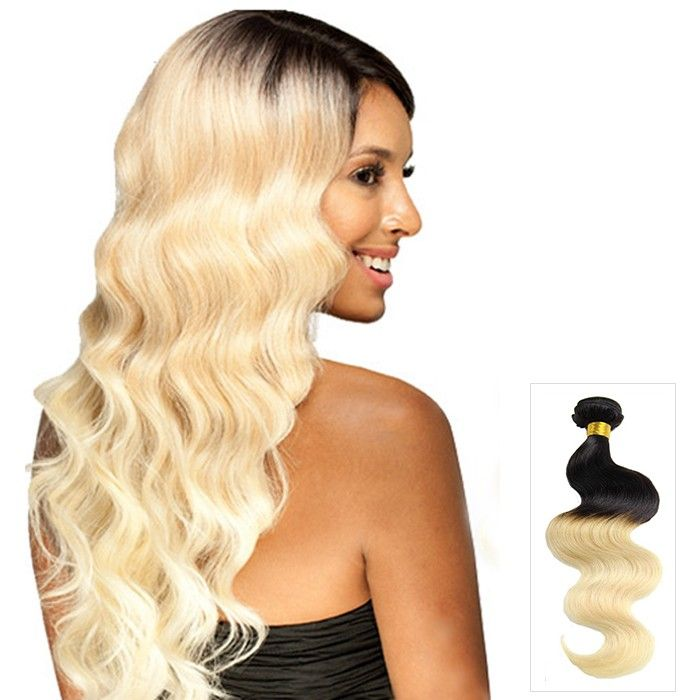 16 Inch Wondrous Body Wave Ombre Indian Remy Human Hair Weave Two