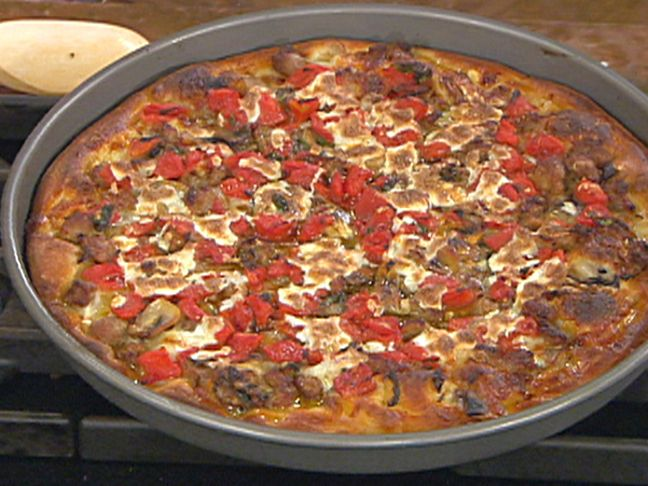 Chicago-Style Pan Pizza with Sausage, Mushrooms, Herbs and Tomatoes Recipe : Emeril Lagasse : Food Network