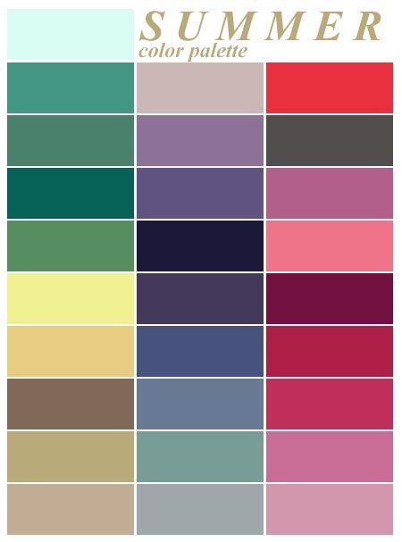 Summer color palatte  Color analysis summer, Soft summer colors