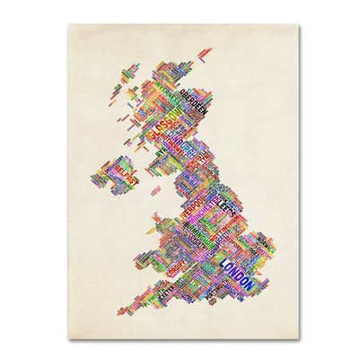 """Trademark Art 'United Kingdom I' by Michael Tompsett Framed Textual Art on Wrapped Canvas Size: 47"""" H x 30"""" W x 2"""" D"""