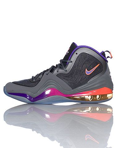 finest selection 96429 4e368 NIKE Penny Hardaway Phoenix Suns colorway High top men s sneaker Lace  closure Air bubble heel for ultimate comfort Grey sneaker with Orange,  Pink, ...