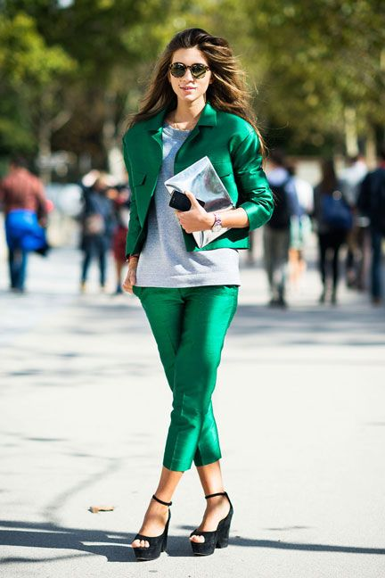 In Paris, Caroline Nizza wears an Isa Arfen suit with Celine clutch and shoes #streetstyle