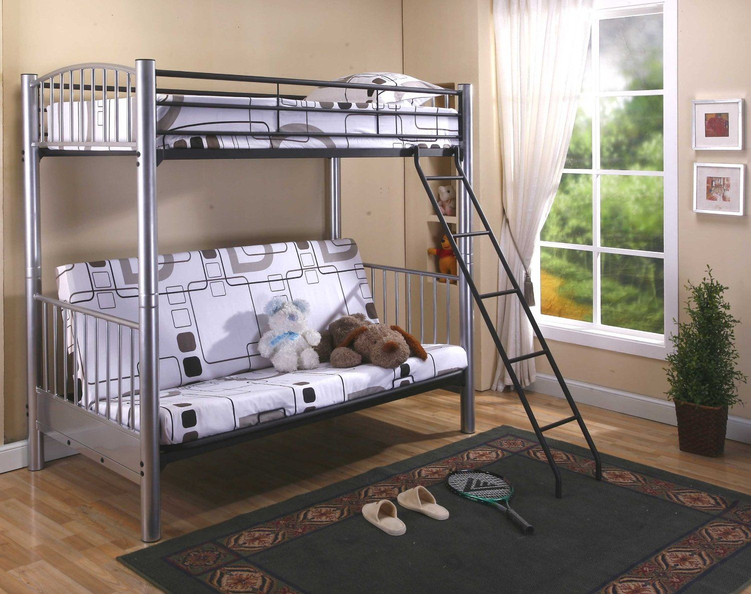 Amazon Com Twin Full Silver Finish Metal Convertible Futon Bunk Bed Futon Bunk Bed Frames Bunk Bed Designs Girls Loft Bed Loft Beds For Teens