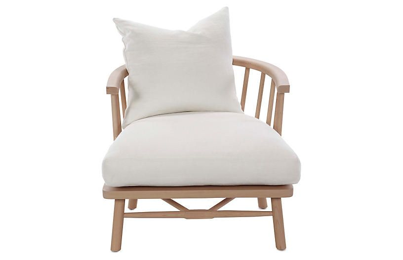 Bauer Accent Chair Ivory Linen Accent Chairs Tufted Accent