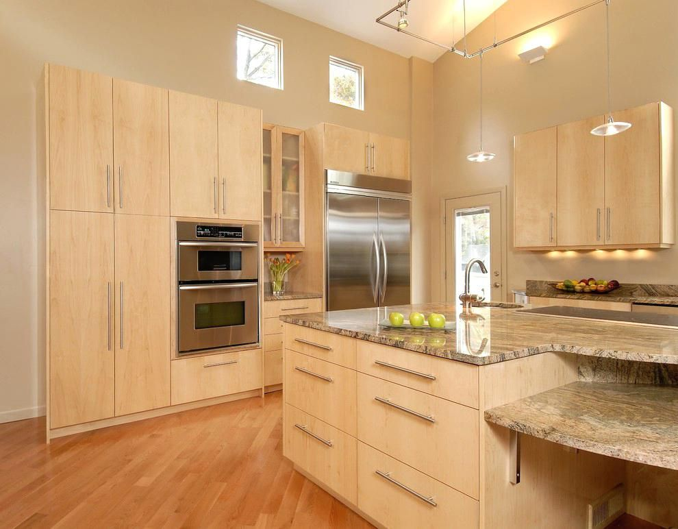 Light Stained Maple Kitchen Cabinets How To Clean Cabinet Pictures Maple Kitchen Cabinets Natural Kitchen Cabinets Kitchen Island Lighting
