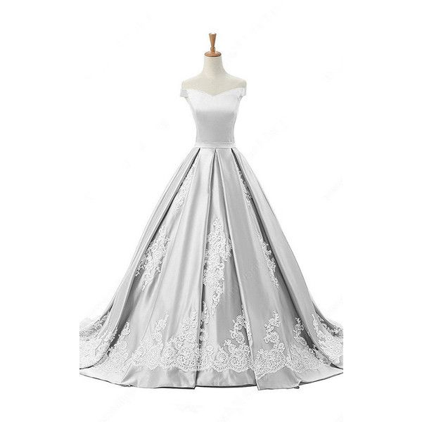 Off The Shoulder Satin Sweep Train Appliques Lace Princess Silver Long...  ($149) ❤ liked on Polyvore featuring dresses, white cocktail dress, ...