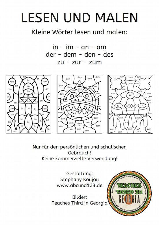kleine w rter lesen und malen schule teaching classroom und learn german. Black Bedroom Furniture Sets. Home Design Ideas