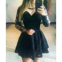Vestidos de formatura curtos rodados preto