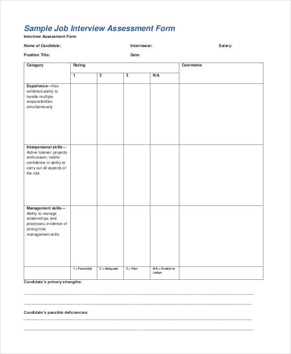 6+ Free Assessment Templates Word, Excel  PDF Templates www