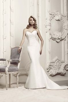 Plain White Strapless Satin Mermaid Wedding Dress Plunging Neck Google Search