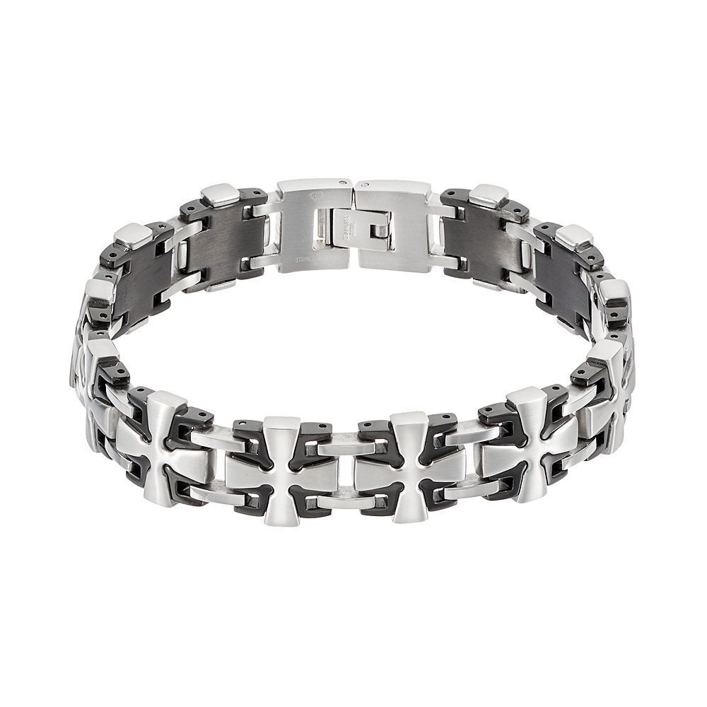 Men's Two Tone Stainless Steel Cross Link Bracelet, Silver