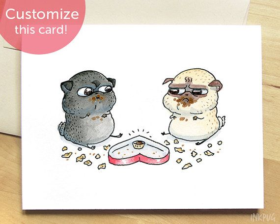 Chocolate Standoff Pugs Valentine S Day Card Cute Dog Valentines