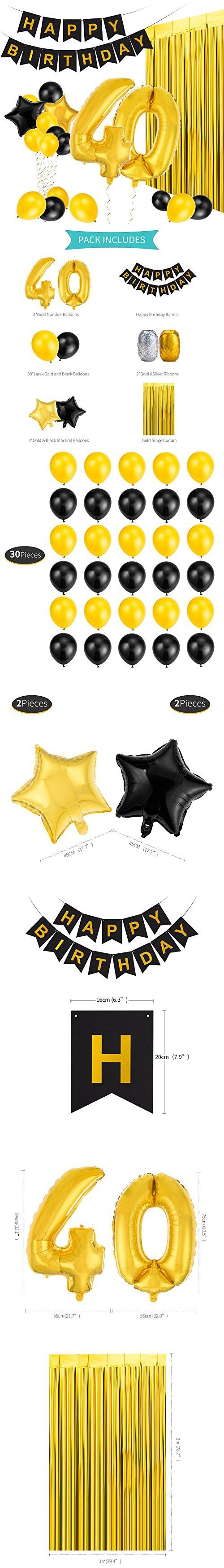MeiHoyo 40th Birthday Decorations Happy Banner Party Kit Pack B Day Celebration Supplies With