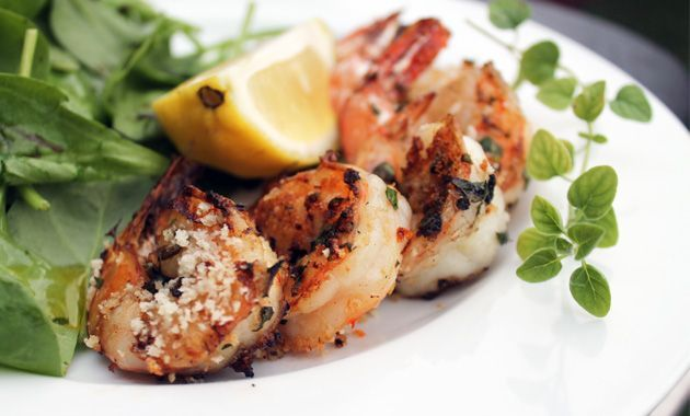 Grilled Shrimp in a garlic/butter/white wine sauce