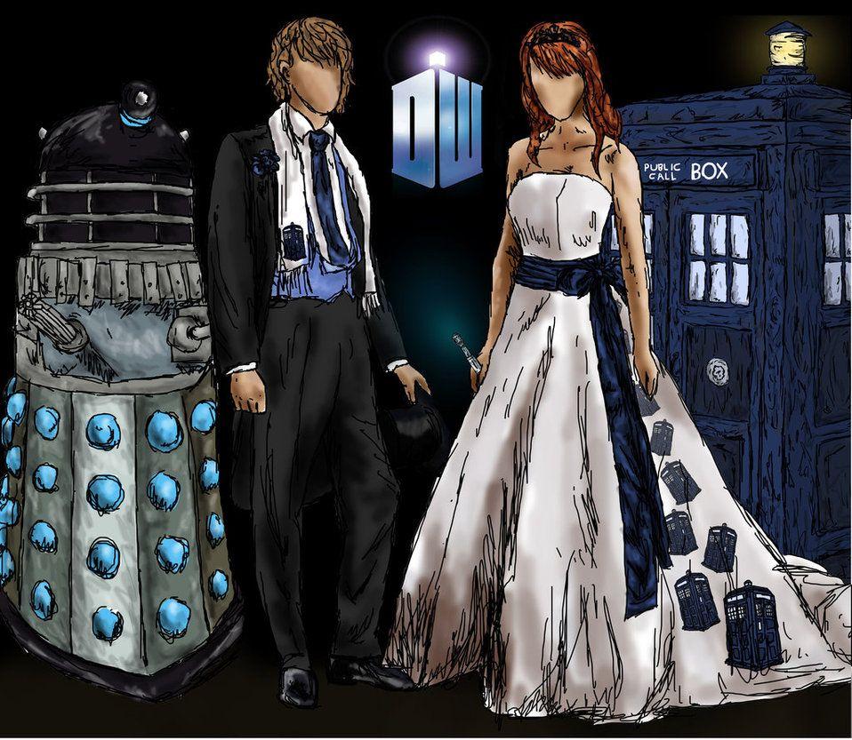 A Doctor Who Wedding By Lenleg On Deviantart Doctor Who Wedding Nerd Wedding Dress Nerd Wedding