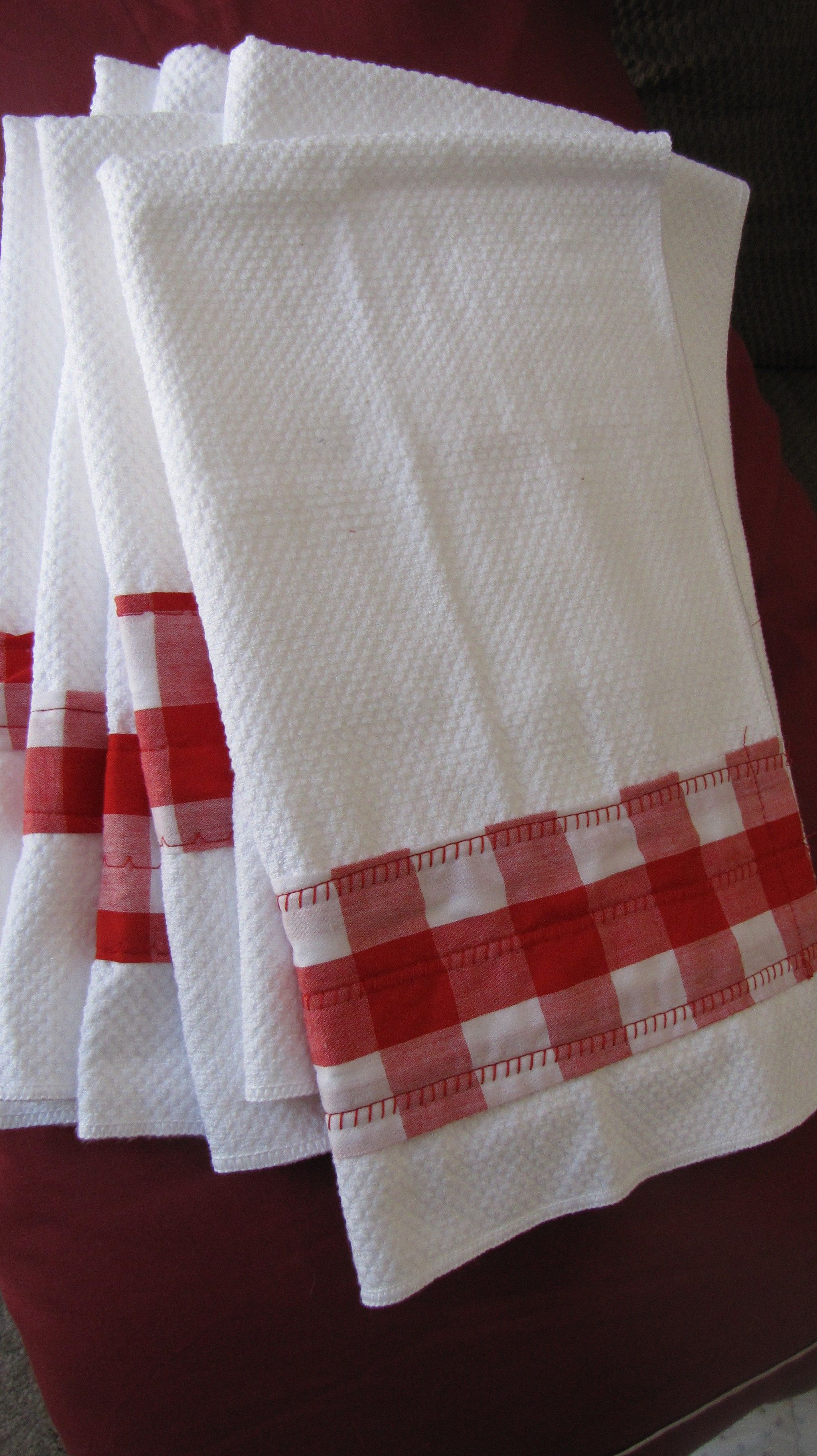 Gingham sewed to cheap WalMart kitchen towels to decorate ...