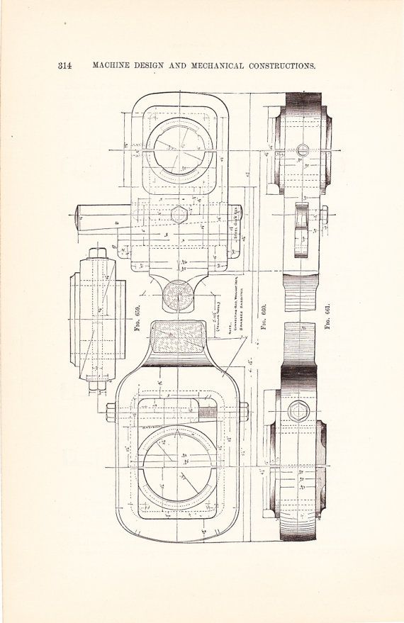 1886 Technical Drawing Antique Math Geometric by Holcroft on Etsy - new old blueprint art
