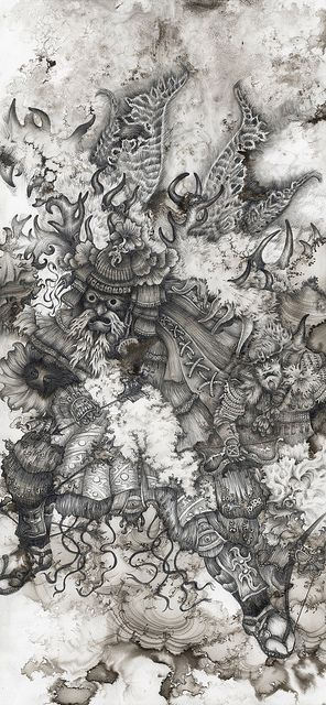 Hag Moth God 6 x 13 pencil & ink by RachelmBray, via Flickr