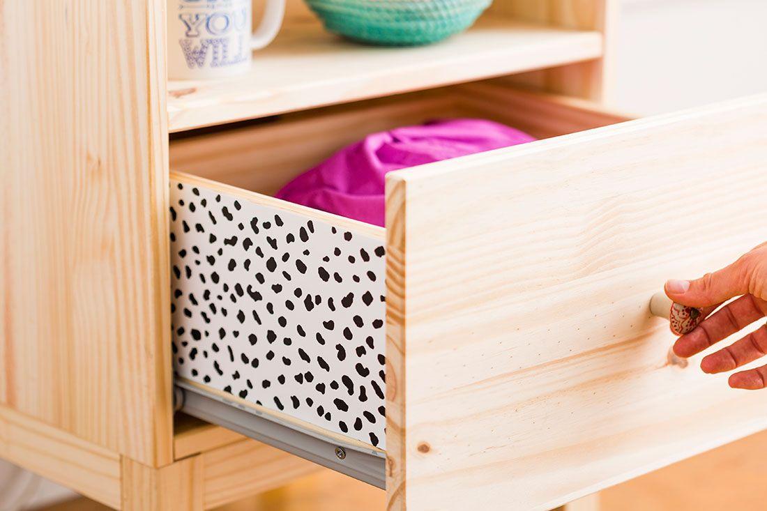 DIY, decoração, gavetas, estampas, preto e branco, faça você mesmo.
