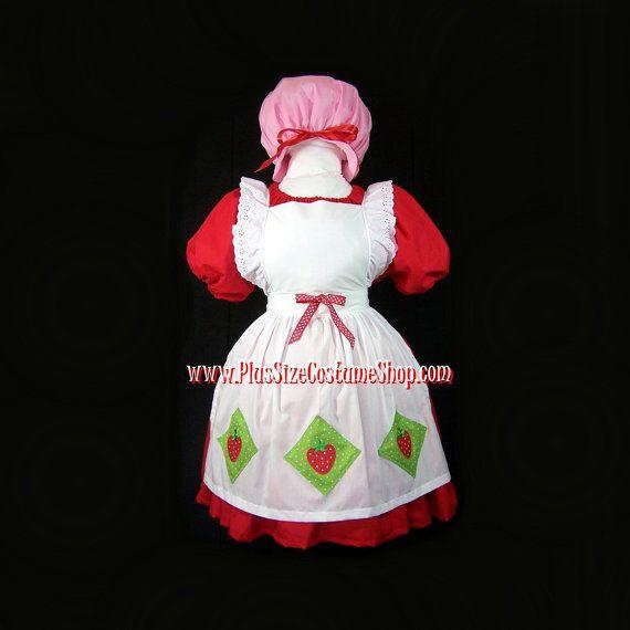 strawberry shortcake plus size halloween costume adult womens size 1x 2x 3x 4x 5x 4
