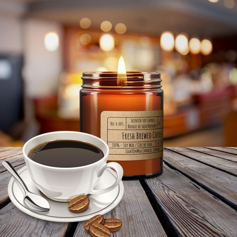 BLACK COFFEE, Scented Soy Candle, 8oz Amber Jar Candle ...