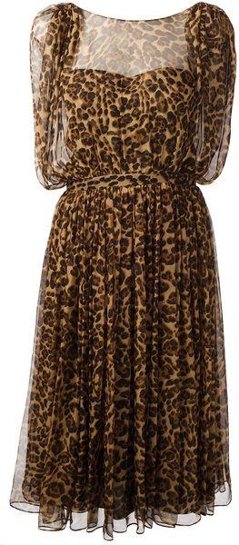 Gucci - Leopard Print Silk Dress in Beige.