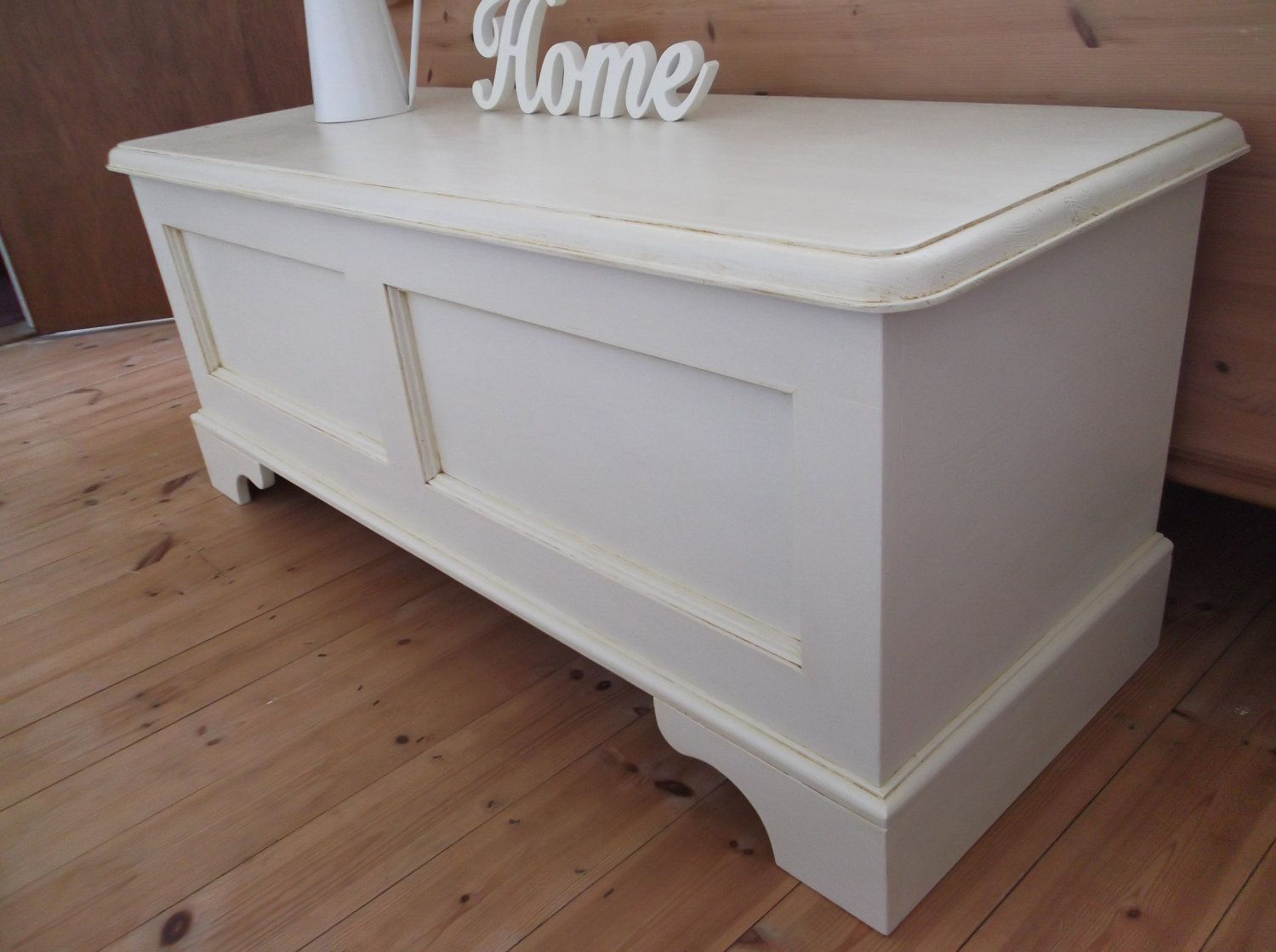 Shabby Chic Pine Blanket Box Ottoman Toy Chest Trunk Bench