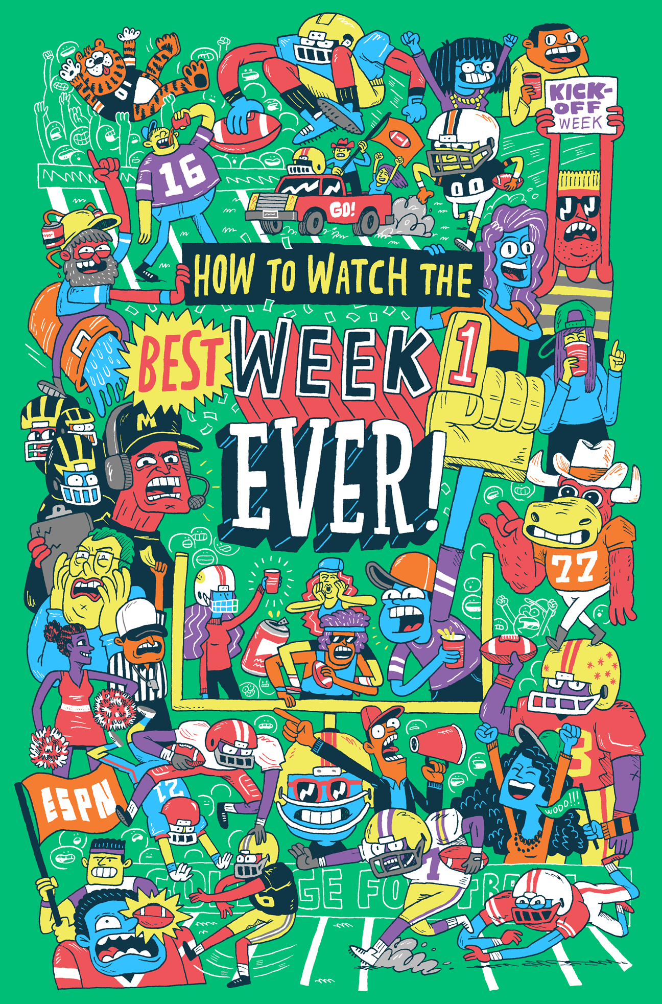 An Illustrated Guide To Kickoff Week For A College Football Couch